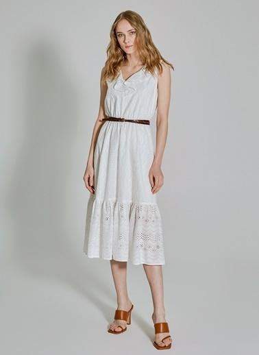 People By Fabrika Volan Detaylı Elbise Beyaz